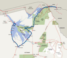 Safari route map of Delta and Moremi 11 day camping trip